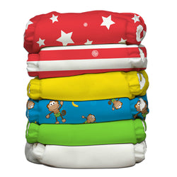 6 Diapers 12 Inserts Circus One Size Hybrid AIO