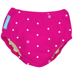 2-in-1 Swim Diaper & Training Pants White Polka Dots Hot Pink Small