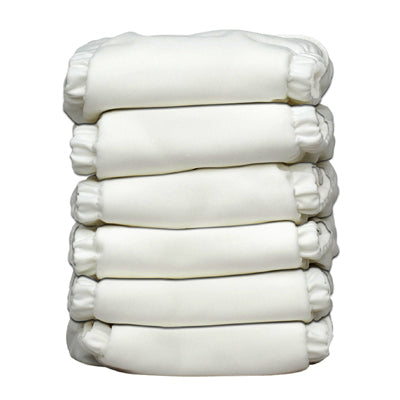 6 Diapers 12 Inserts All White One Size Hybrid AIO