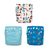 3 Diapers 6 Inserts Oceana One Size Hybrid AIO