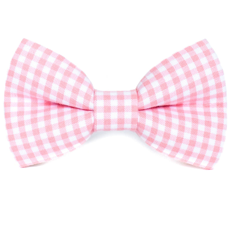 Pink Gingham Dog Bow Tie