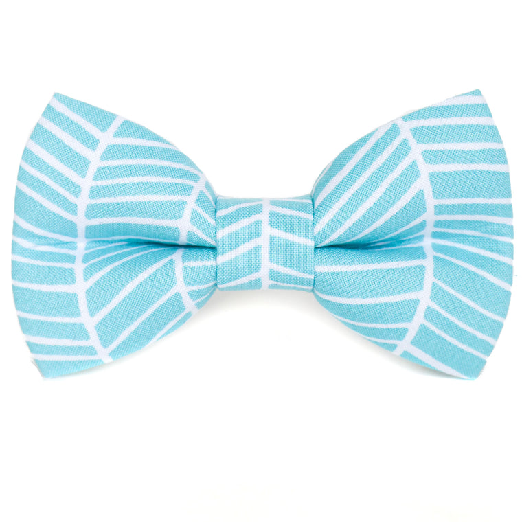 Aqua Herringbone Dog Bow Tie