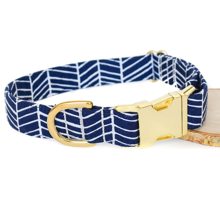 NAVY HERRINGBONE DOG COLLAR AND BOW TIE SET