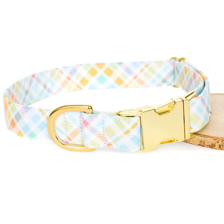 PASTEL PLAID DOG COLLAR
