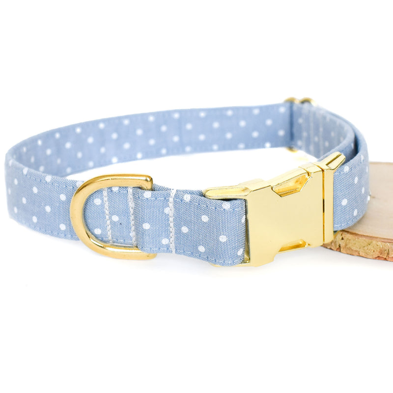CHAMBRAY DOTS DOG COLLAR AND BOW TIE SET