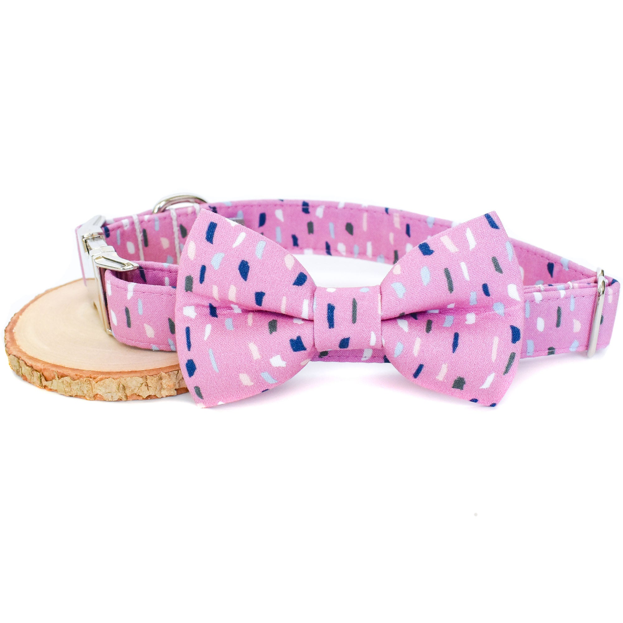 PINK TERRAZZO DOG COLLAR AND BOW TIE SET