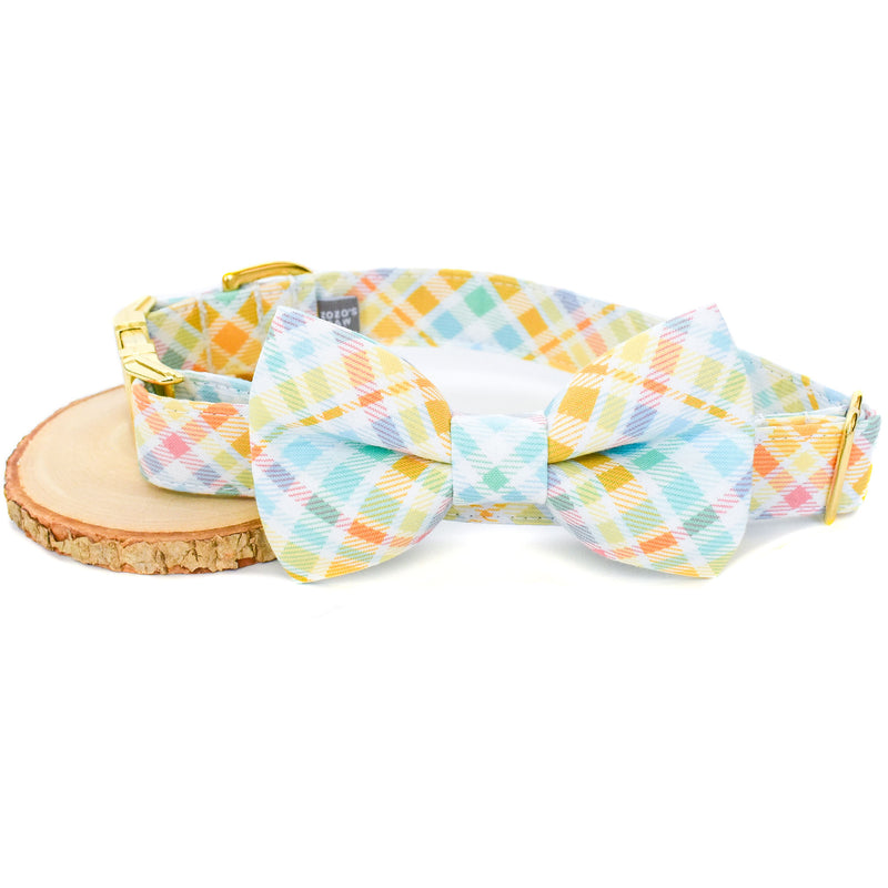 PASTEL PLAID DOG COLLAR AND BOW TIE SET