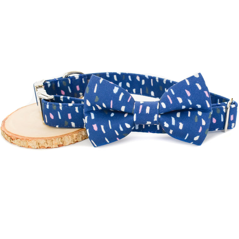 BLUE TERRAZZO DOG COLLAR AND BOW TIE SET