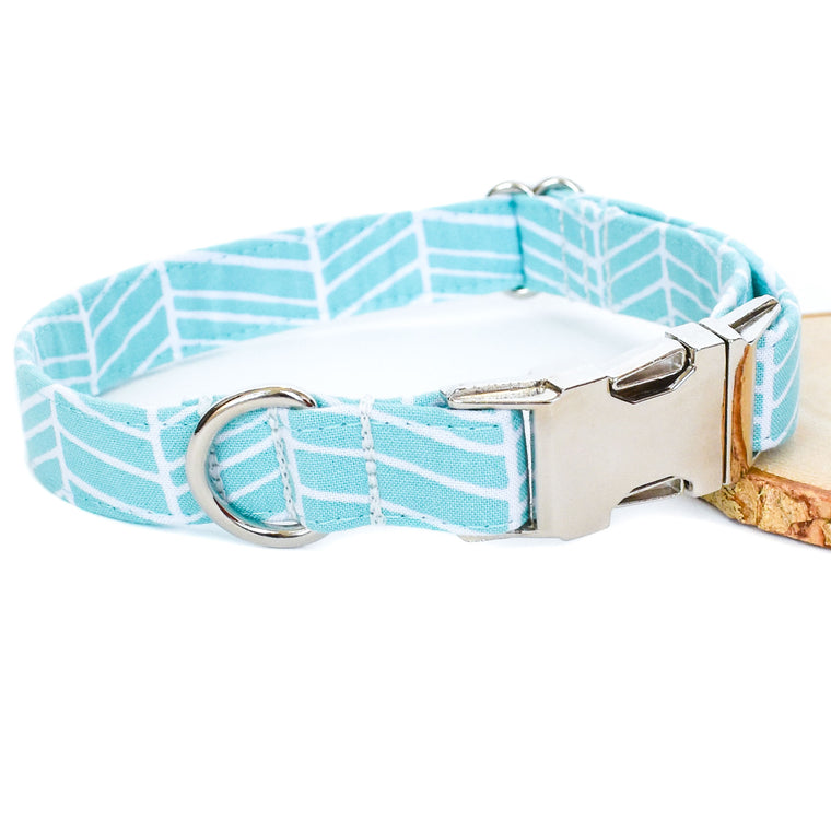 AQUA HERRINGBONE DOG COLLAR