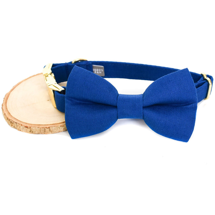 TRUE BLUE DOG COLLAR AND BOW TIE SET