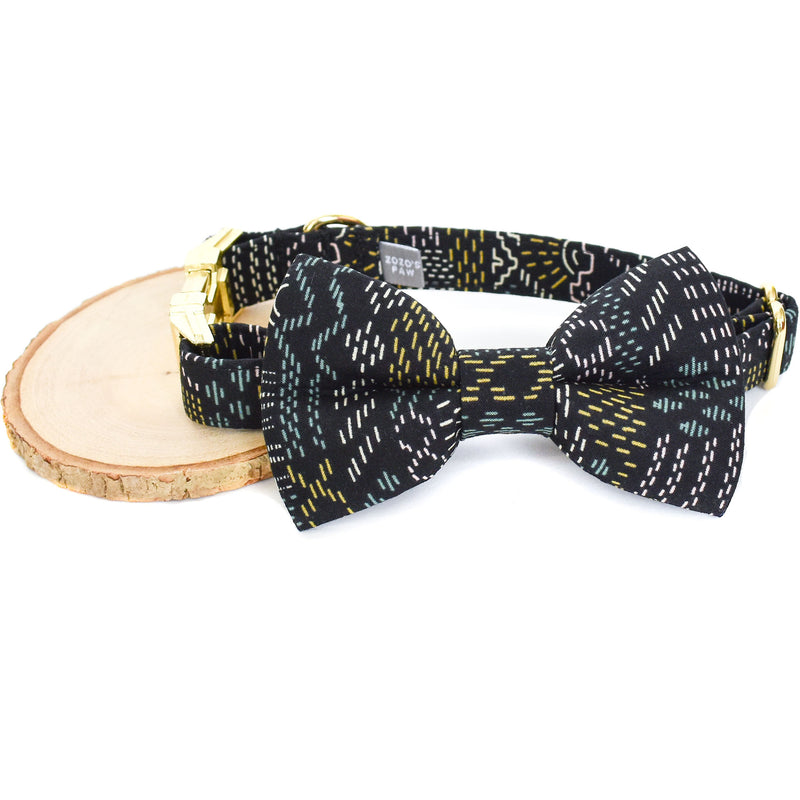 NEVADA NIGHTS DOG COLLAR AND BOW TIE SET
