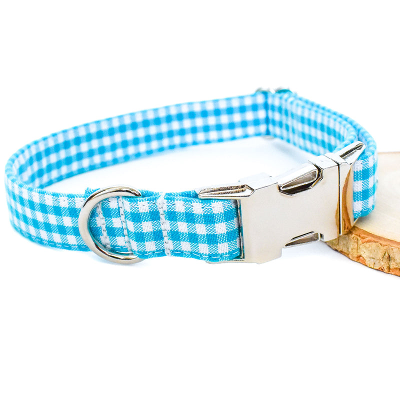 AQUA GINGHAM DOG COLLAR