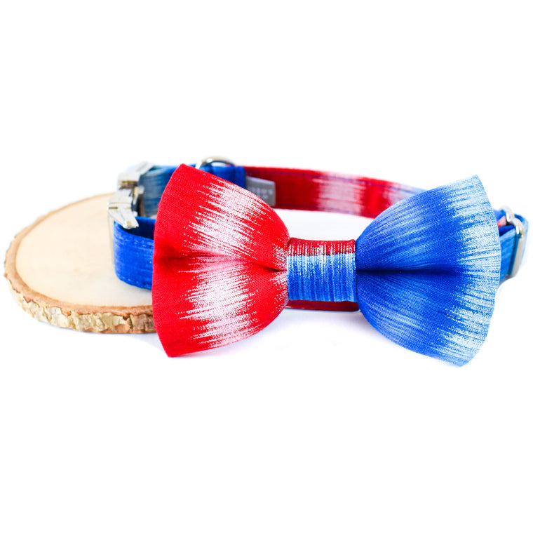 AMERICA THE BEAUTIFUL DOG COLLAR AND BOW TIE SET