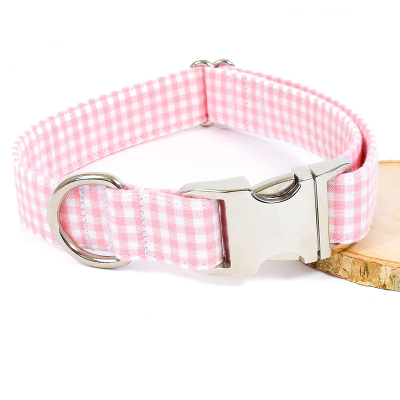 PINK GINGHAM DOG COLLAR AND BOW TIE SET