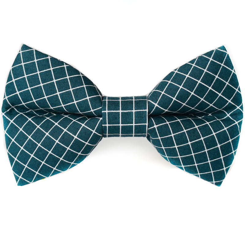 Notable Navy Grid Dog Bow Tie