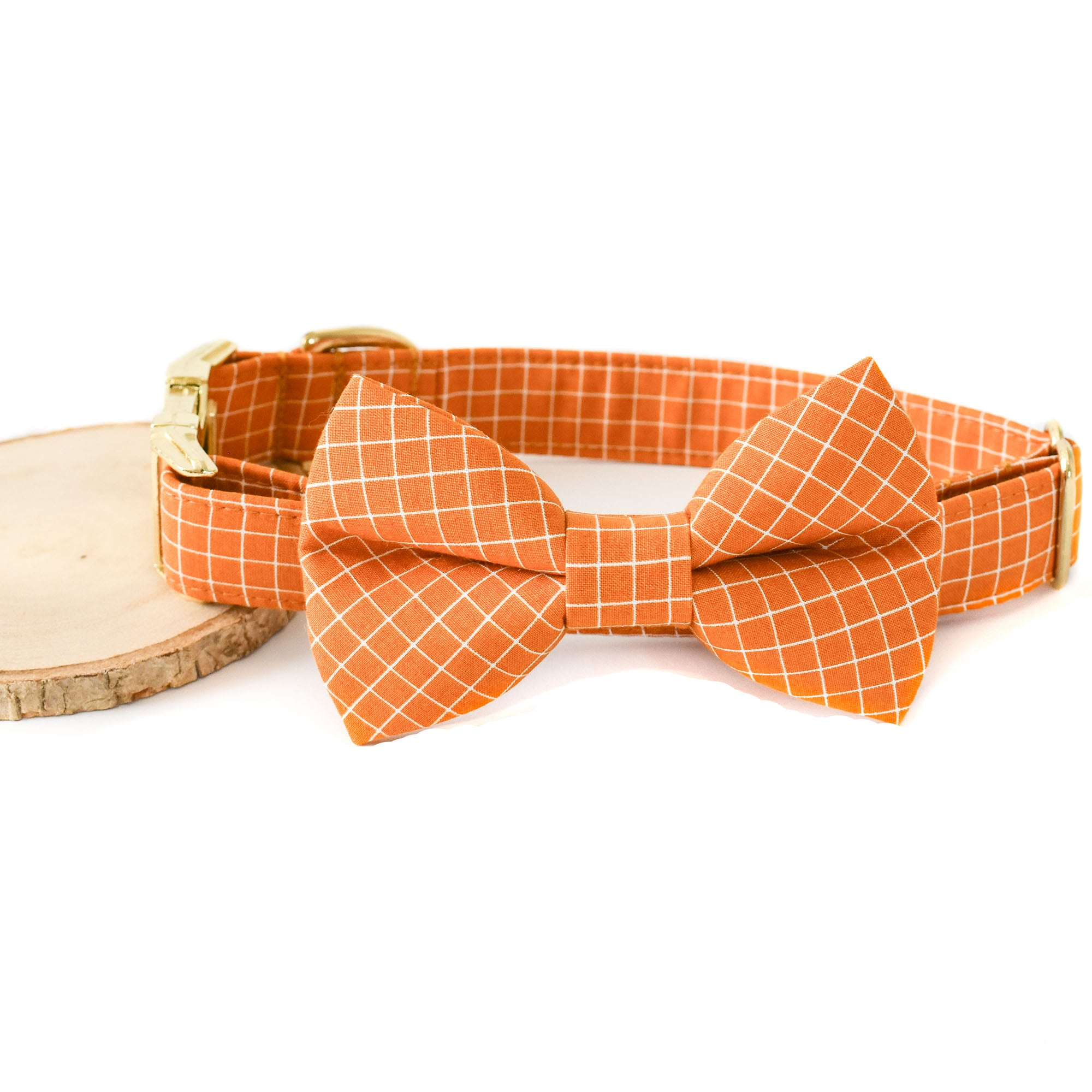 BUTTERSCOTCH GRID DOG COLLAR AND BOW TIE SET