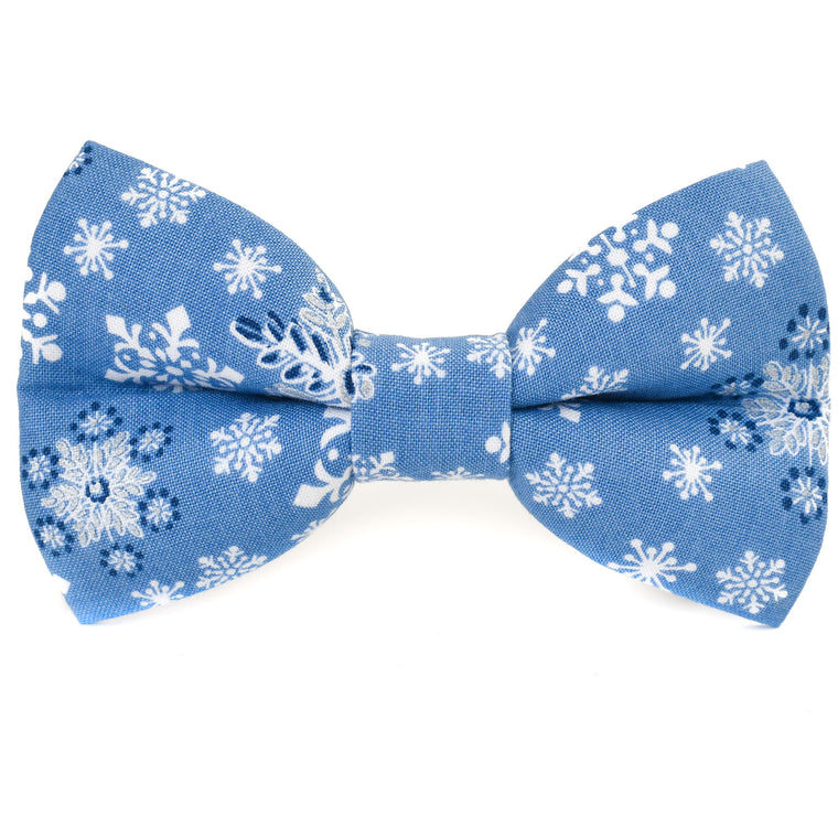 Frosted in Blue Snowflakes Dog Bow Tie