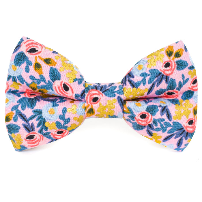 Frosted Pink Floral Dog Bow Tie
