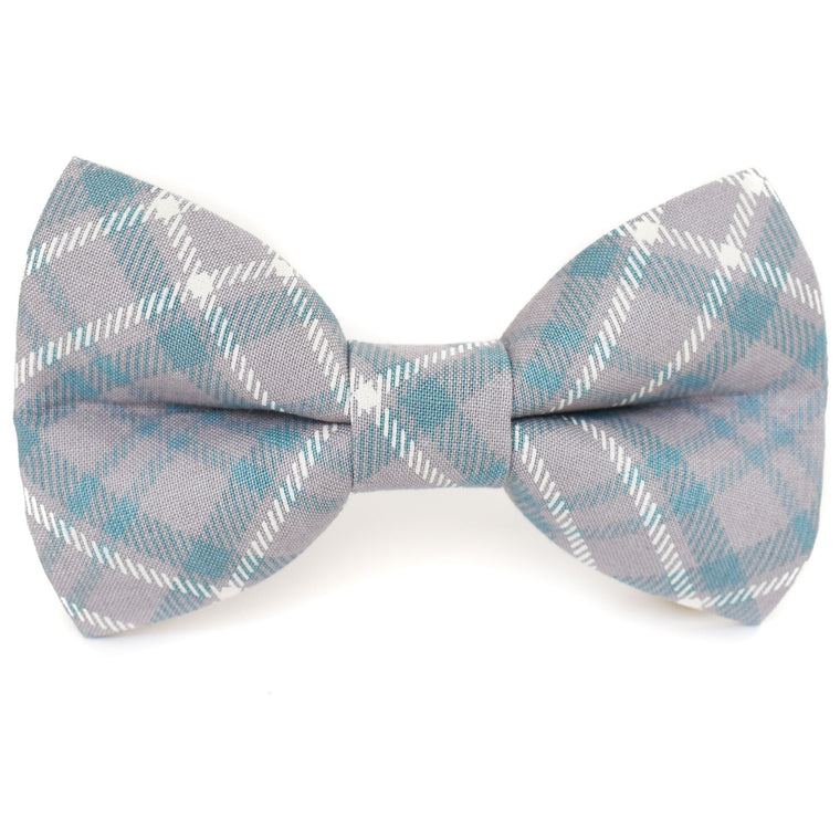 Sophisticated Gray Plaid Dog Bow Tie