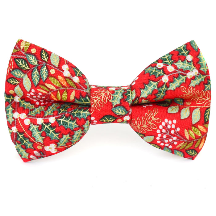 Red Holiday Floral Dog Bow Tie