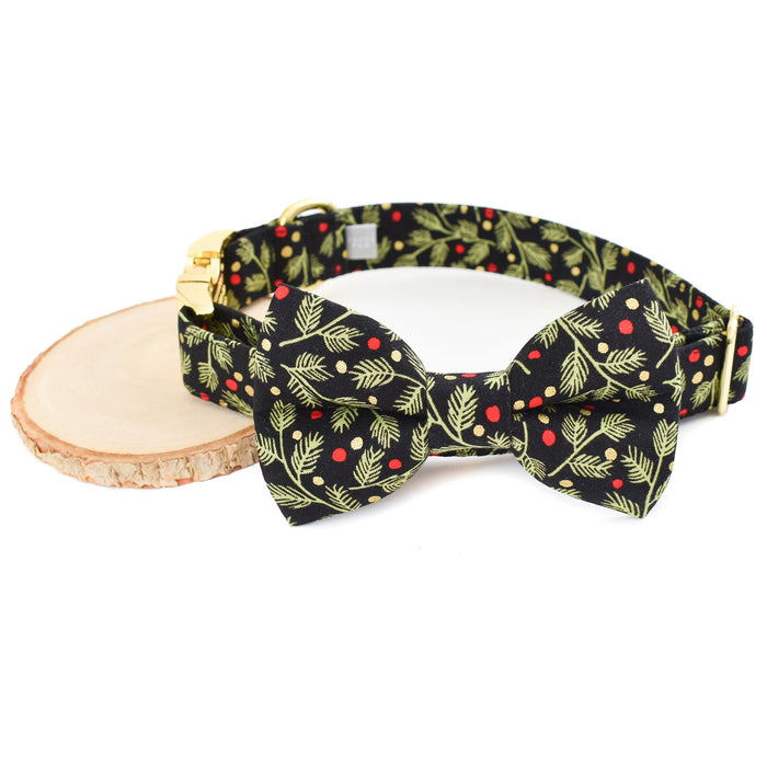 WINTER PINE DOG COLLAR AND BOW TIE SET