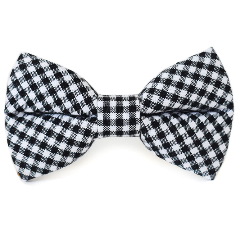 Black and White Check Dog Bow Tie