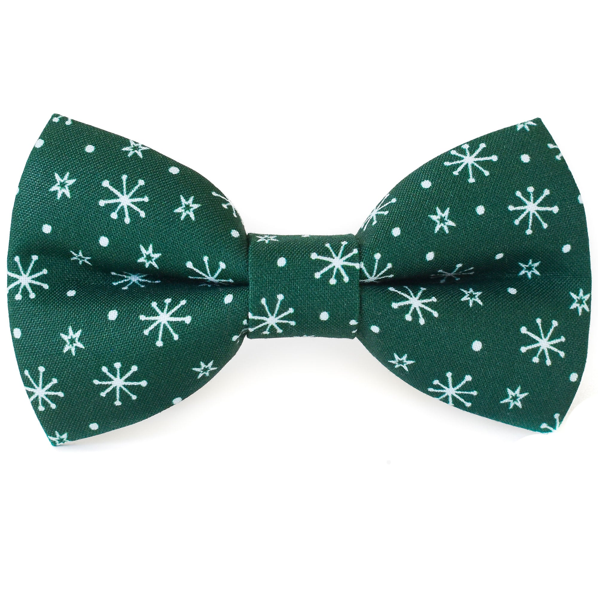 Evergreen Snowflakes Dog Bow Tie