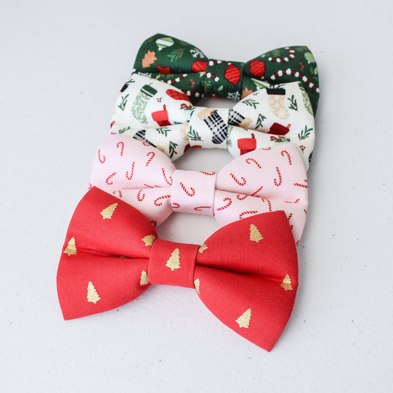 Pink Candy Canes Dog Bow Tie