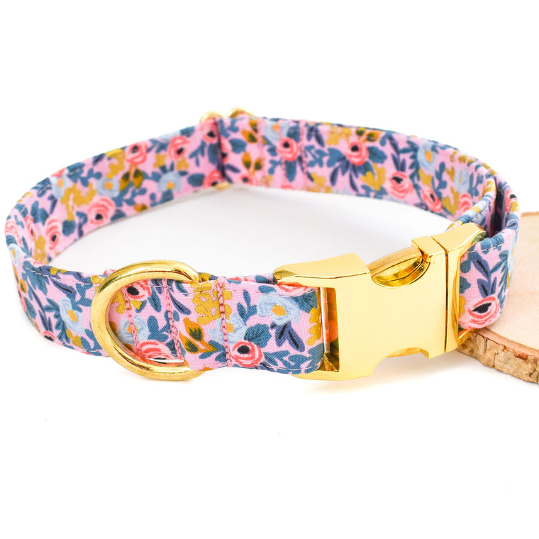 FROSTED PINK FLORAL DOG COLLAR