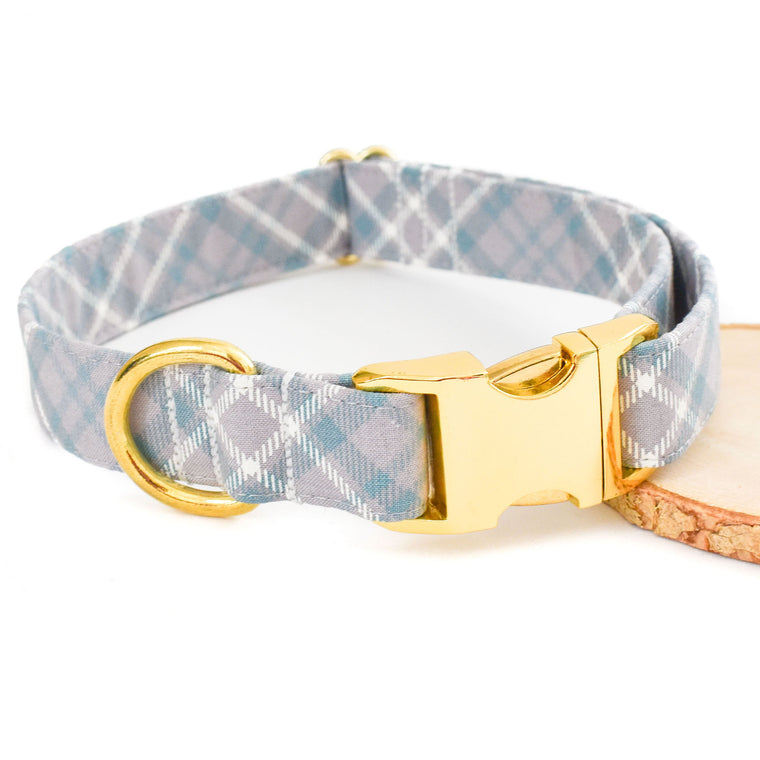 SOPHISTICATED GRAY PLAID DOG COLLAR