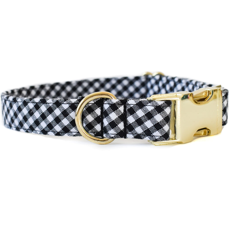 BLACK AND WHITE CHECK DOG COLLAR