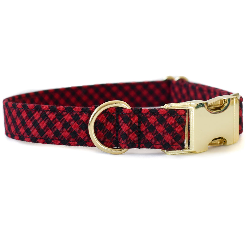 RED AND BLACK CHECK DOG COLLAR
