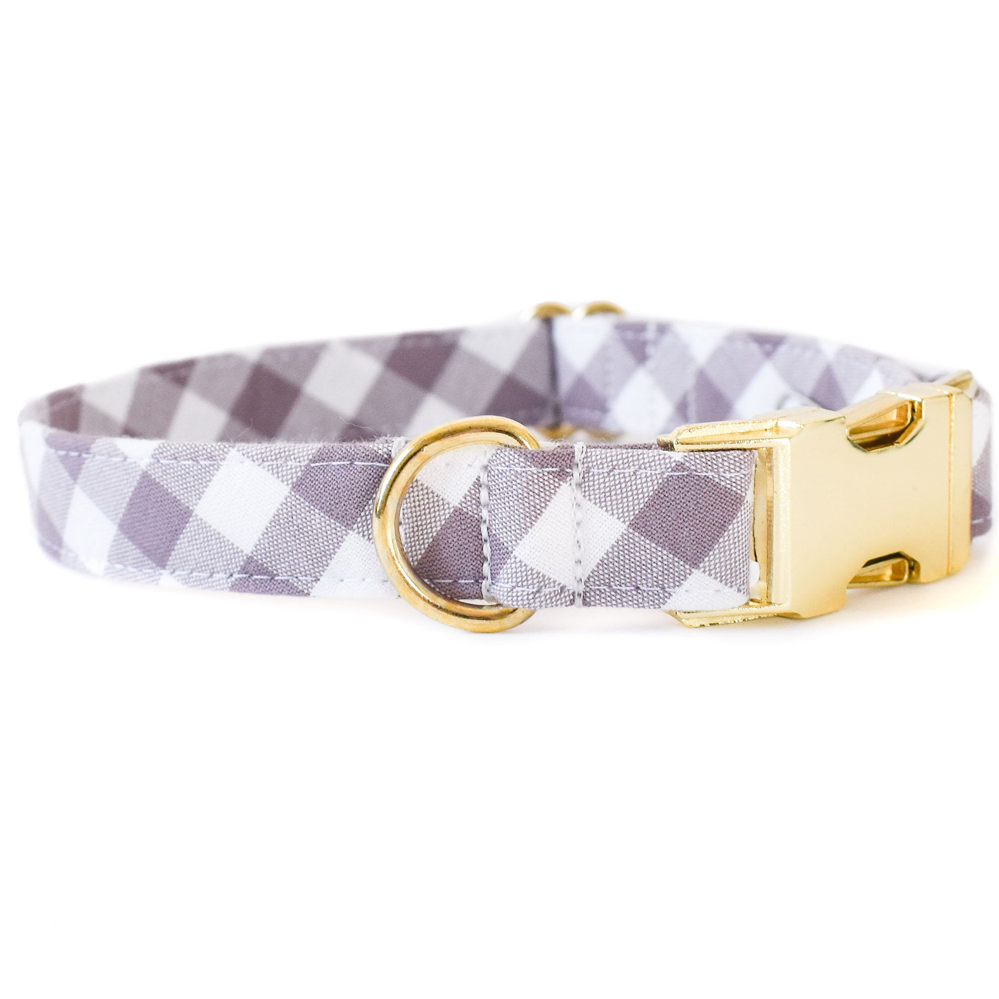 MAUVE CHECK DOG COLLAR