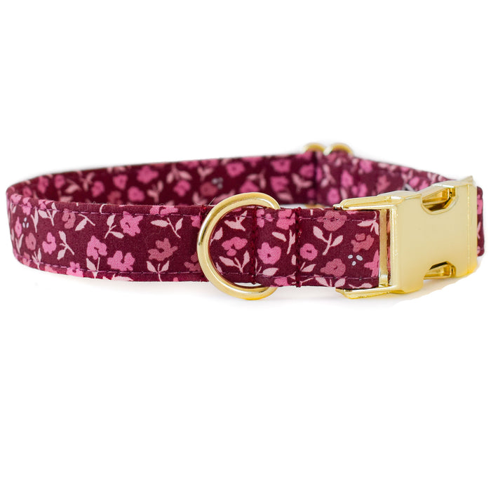 BURGUNDY AND PLUM FLORAL DOG COLLAR