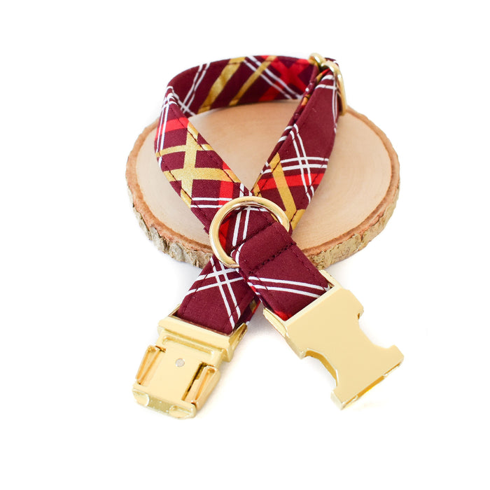 BURGUNDY PLAID DOG COLLAR AND BOW TIE SET