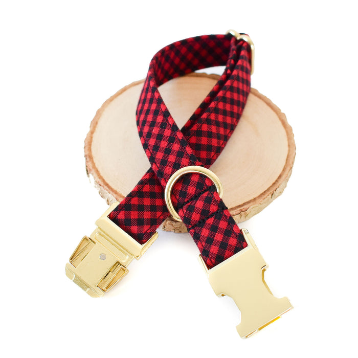 RED AND BLACK CHECK DOG COLLAR AND BOW TIE SET