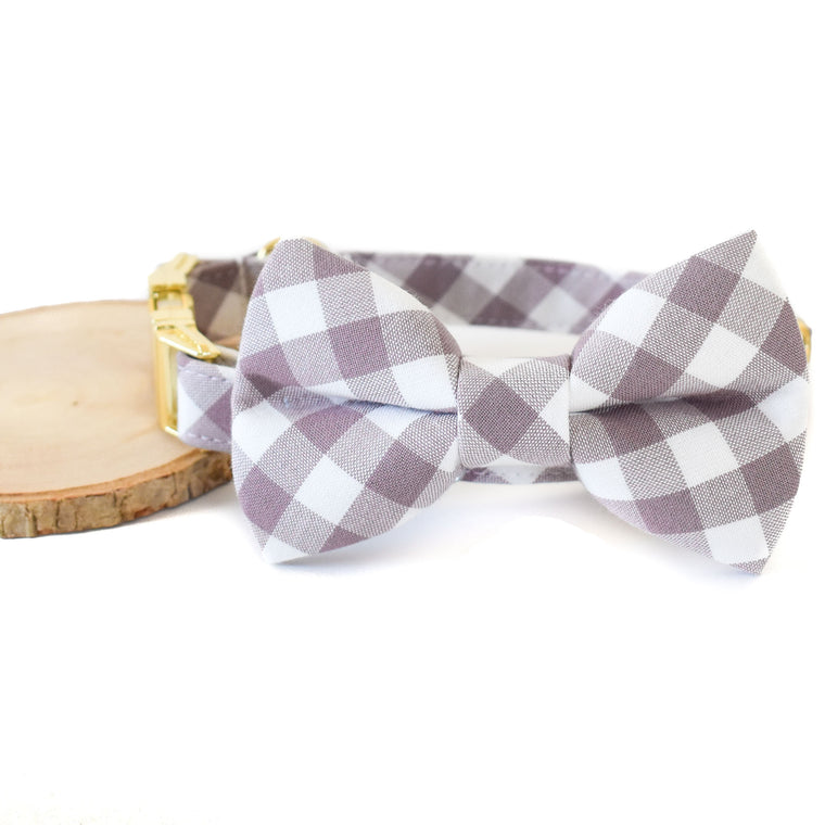 MAUVE CHECK DOG COLLAR AND BOW TIE SET