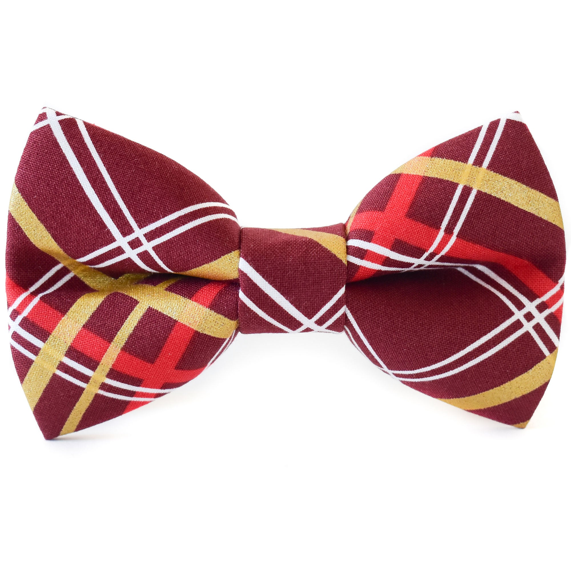 Burgundy Plaid Dog Bow Tie