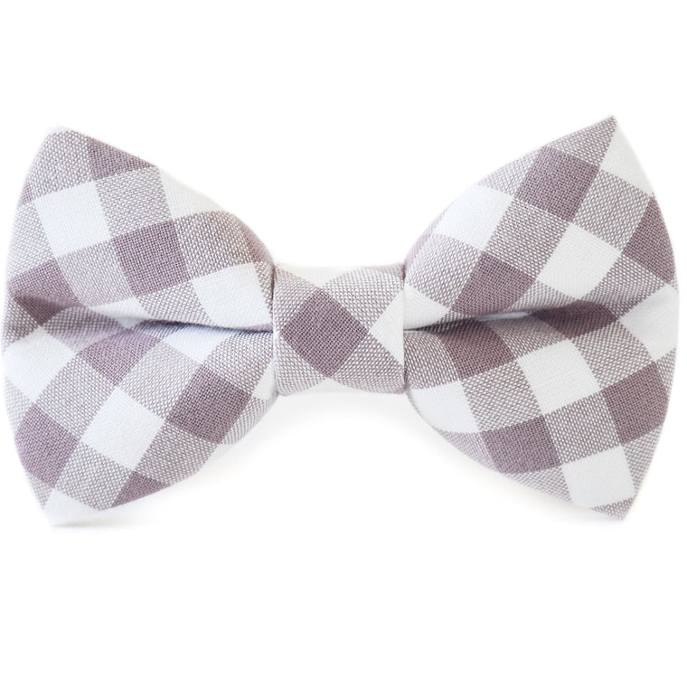Mauve Check Dog Bow Tie