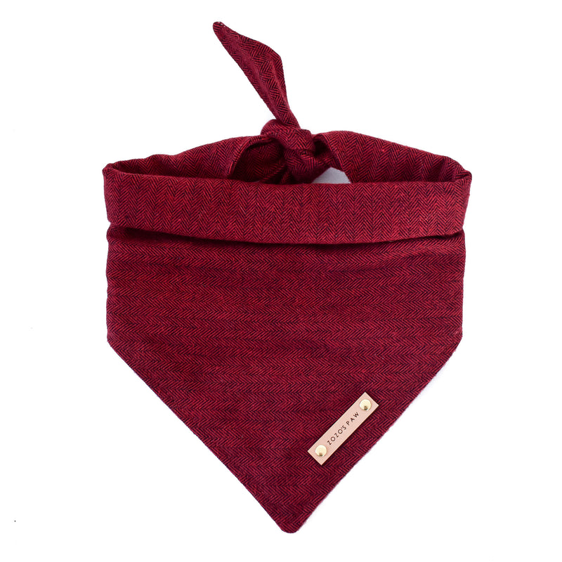 Flannel Cranberry Herringbone Dog Bandana