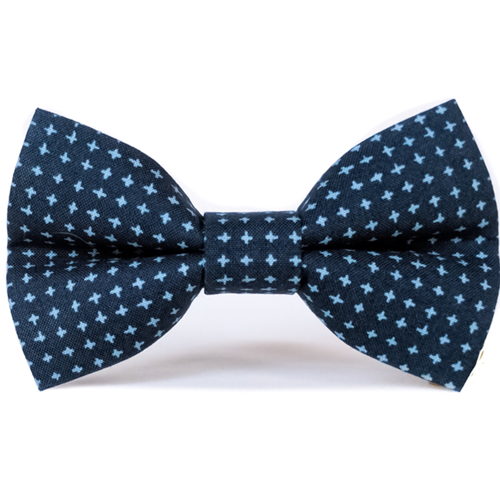 Navy Crosshatch - Dog Bow Tie