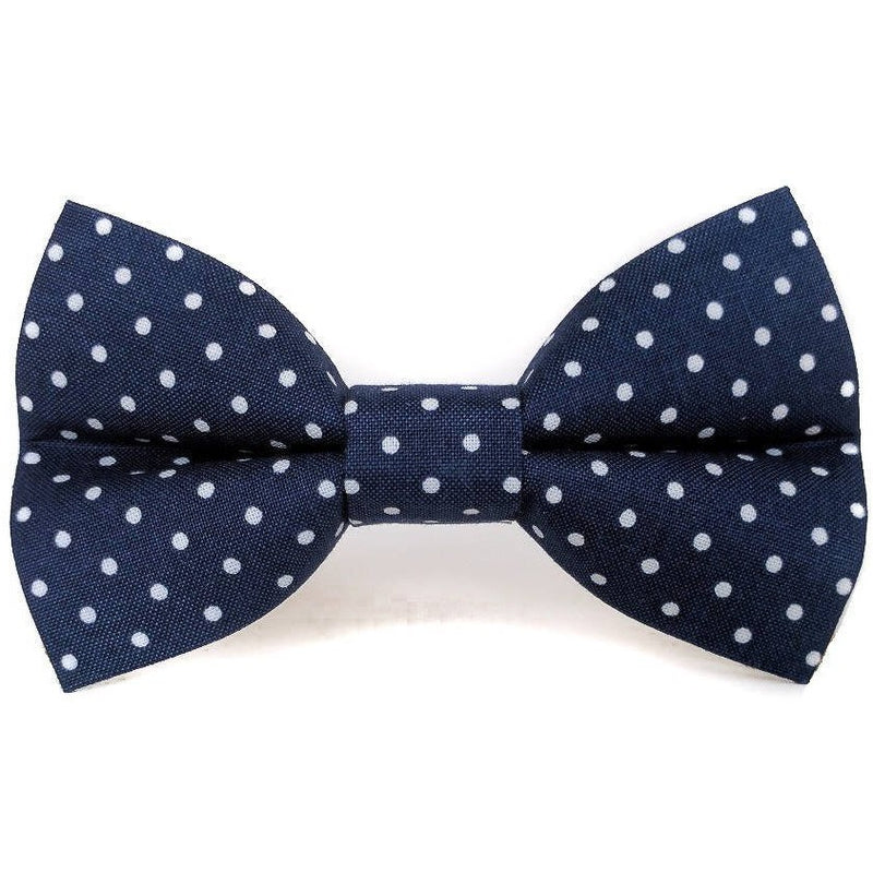 Navy Polka Dots - Dog Bow Tie