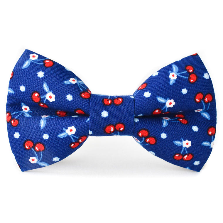 Patriotic Cherries Dog Bow Tie