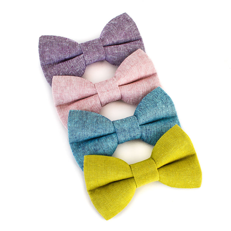 The Retro Linen Dog Bow Tie