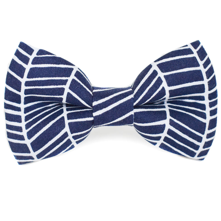 Navy Herringbone Dog Bow Tie