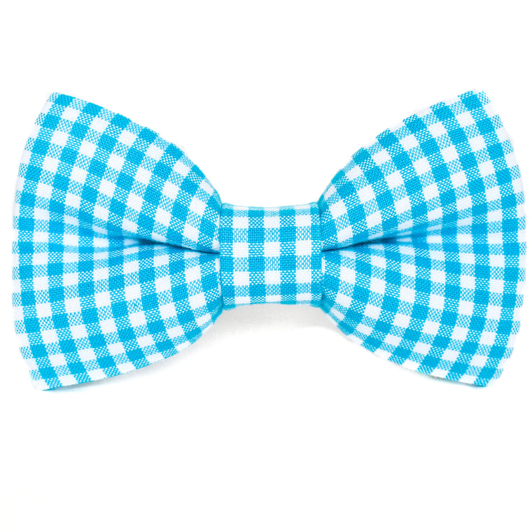 Aqua Gingham Dog Bow Tie