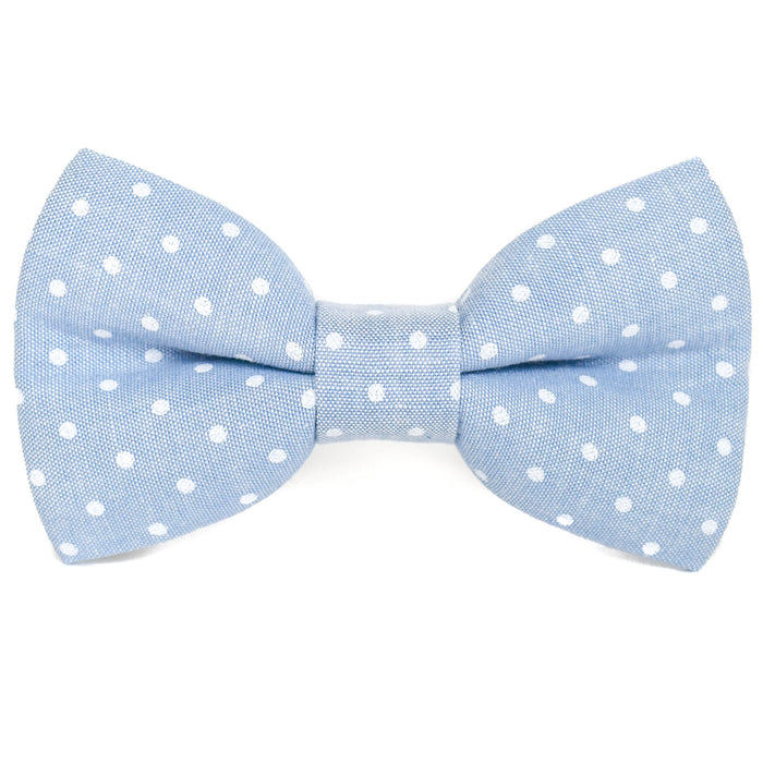 Chambray Polka Dots Dog Bow Tie