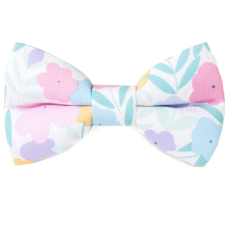 Pastel Poppies Dog Bow Tie