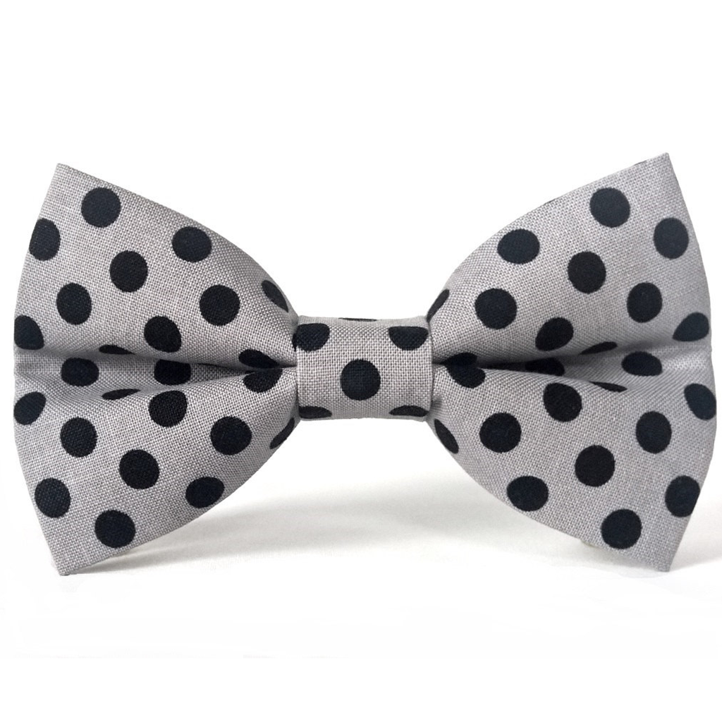 Gray and Black Polka Dots - Dog Bow Tie