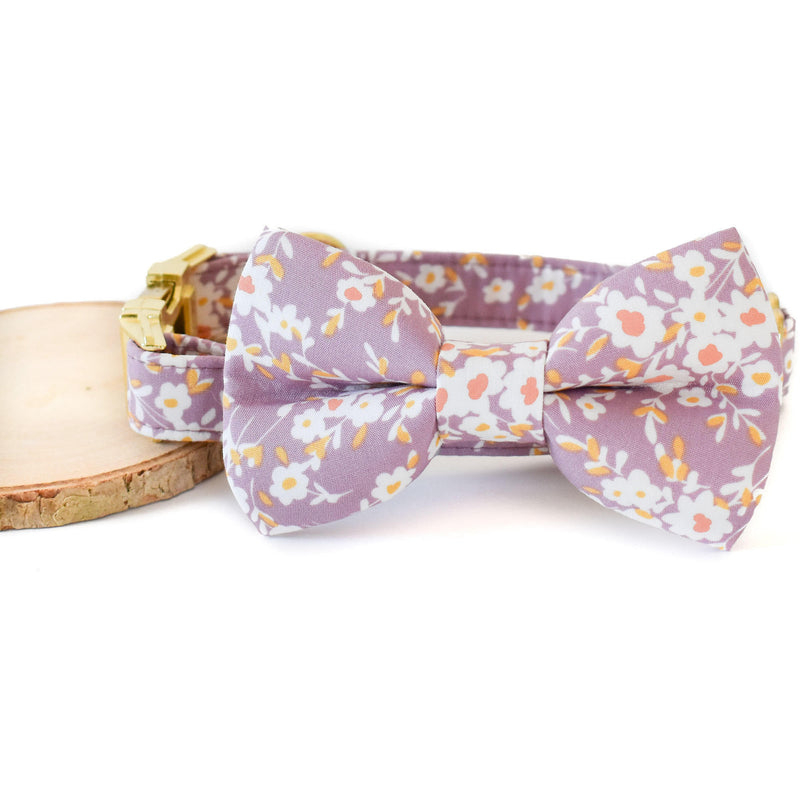 LAVENDER LOVE FLORAL DOG COLLAR AND BOW TIE SET